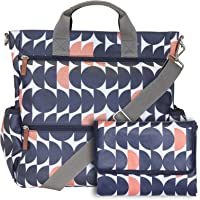 Piglet Twin Changing Bag. This Large, Multifunctional Nappy Bag converts from a Cross Body to a Back Pack and can be Attached to Your Buggy. Complete with Changing mat & x2 Bottle Pockets. (Navy)