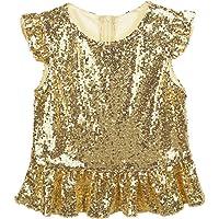 Yeahdor Kids Girls Sparkly Sequins Mermaid Jazz Hip Hop Dance Costume Zipper Ruffle Trim Top Birthday Party Blouse…