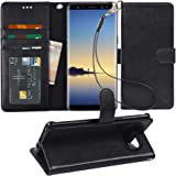 Arae Wallet Case Compatible for Samsung Galaxy Note 8 with Kickstand and Flip Cover (Black)