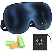 Gritin Schlafmaske, Augenmaske Nachtmaske Verstellbarem Gummiband 100% Hautfreundlich Seide Geruchneutral Schlafbrille…