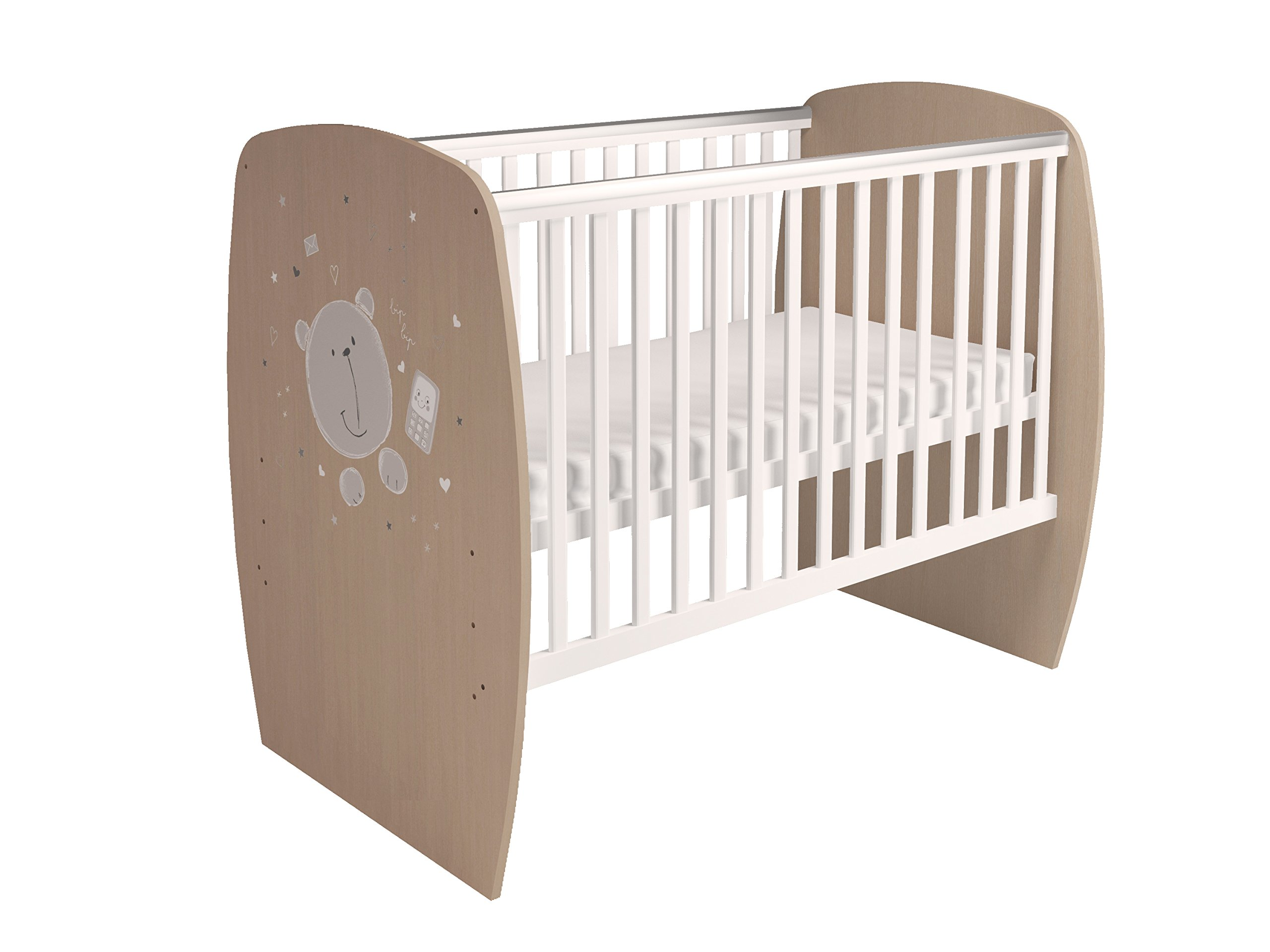 Polini Kids 0001527.62 French 700 Teddy Design Baby Cot, White-Pastel Oak Polini Kids 3 heights of the slatted bed base Protective PVC rails and soft-cornered bed sides Available with and without a drawer 3