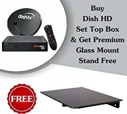 Dish TV & Mounts XLNC Dish TV HD+ Recorder Connection with Titanium Sports HD Pack and Premium Glass Stand(Black)