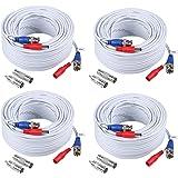 SANNCE 30m Câble de Video Blanc DC Power Connecteur BNC Vidéo 4pcs pour CCTV Caméra DVR
