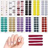 12 Fogli Adesivi Unghie Adesivi per Nail Art Decalcomania per Unghie Smalto Strisce per Donna Ragazze Bomboniere, con 4 Pezzi