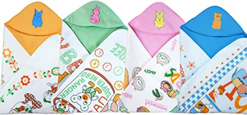 BRANDONN Newborn Heart Printed Baby Blanket With Cap(23 Inch X 29 Inch, 6Pcs)