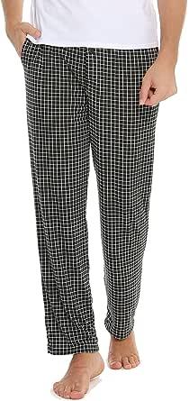 Vlazom Mens Sleep Pants Long Lounge Pant with Pockets, Soft Sleep Pj Bottoms with Drawstring