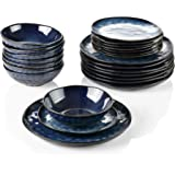 vancasso, Série Starry, Service de Table Complet en Céramique 24 pièces pour 8 Personnes, Assiette Plate, Assiette à Dessert,