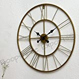 Vintage Clock Iron Wall Clock (55 cm, BRASS )