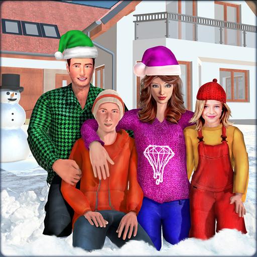 virtuelle Mutter echte Familie Spaß Winterabenteuer