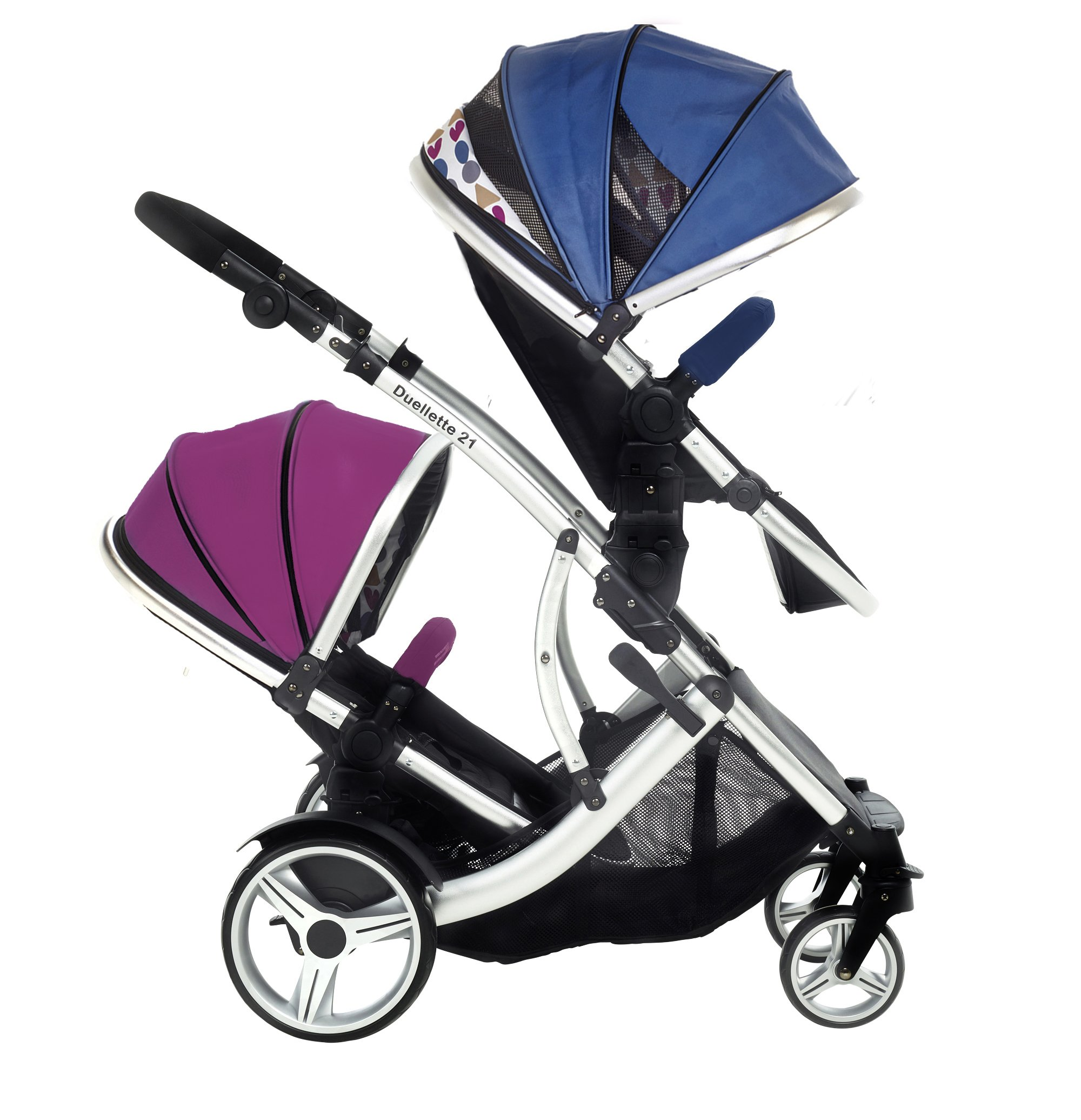 Kids Kargo Duellette 21 BS Combi Tandem Double Twin pushchair NEW COLOUR RANGE! (Raspberry carrycot - newborn/Blueberry seat - toddler 6mth +) Kids Kargo Ideal for newborn baby girl and and older son (6mth+) Various seat positions. Accommodates 1 or 2 car seats Carrycot (raspberry) converts to seat unit incl mattress. Toddler seat (blueberry) from 6 months 4