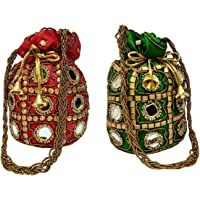 Filora Women's Ethnic Rajasthani Silk Potli Bag Potli Purse Bridal Purse (Combo of 2 Potlis Red and Green)