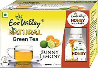 Eco Valley Natural Green Tea, Sunny Lemony, 25 Tea Bags with Eco valley Honey Bottle, 30g