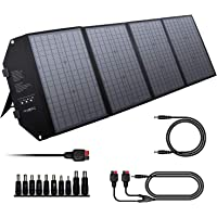 powkey 100W 12-18V Solarpanel Ladegerät mit Typ C, USB C, 2 * QC3.0, DC-Ausgang, monokristallines paralleles Solarpanel…