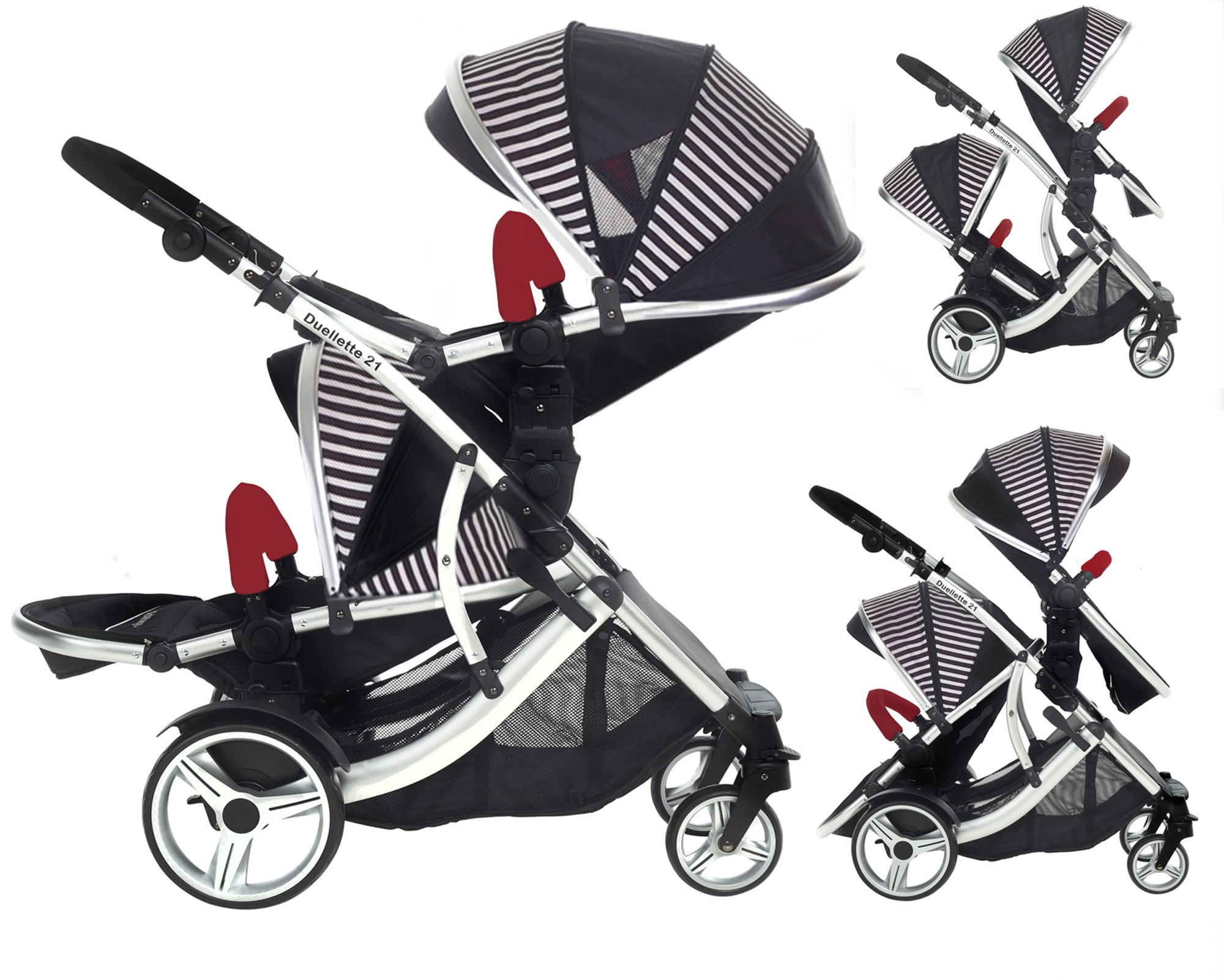 Duellette 21 BS Twin Double Pushchair Stroller Buggy Brand New Colour Range! (Oxford stripe plain bumpers) Kids Kargo Demo video please see link http://youtu.be/Ngj0yD3TMSM Various seat positions. Both seats can face mum (ideal for twins) Suitability Newborn Twins (if used with car seats) or Newborn/toddler. Accommodates 1 or 2 car seats 1