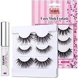 CALAILIS False Eyelash, Eye Makeup Lash 3D Faux Mink Fake Eyelash Long Natural Eyelashes 3 Pairs with 5g False Eyelash Glue (