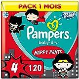 Pampers Couches-Culottes Baby-Dry Pants Taille 4 (9-15kg) Maintien 360° pour Éviter les Fuites, Faciles à Changer, Édition Su
