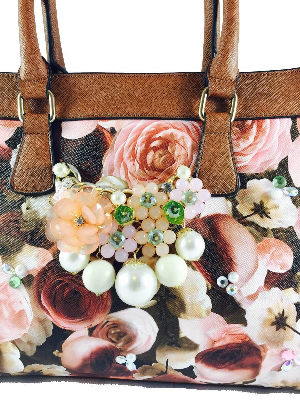 Brown flower embellished tote bag - handmade-bags