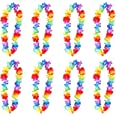 12 x Hawaiian Leis Hula Aloha Hawaii Hen Stag Flower Garland Necklaces Party Fancy Dress Tropical Floral Luau Hen Stag Party