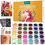 Kit de Tatuajes Temporales-GLAMADOR Brillo de Tatuaje 30 Colores, 145 Únicas Plantillas,4 Pinceles-Carnaval,Fiestas Cumpleaño