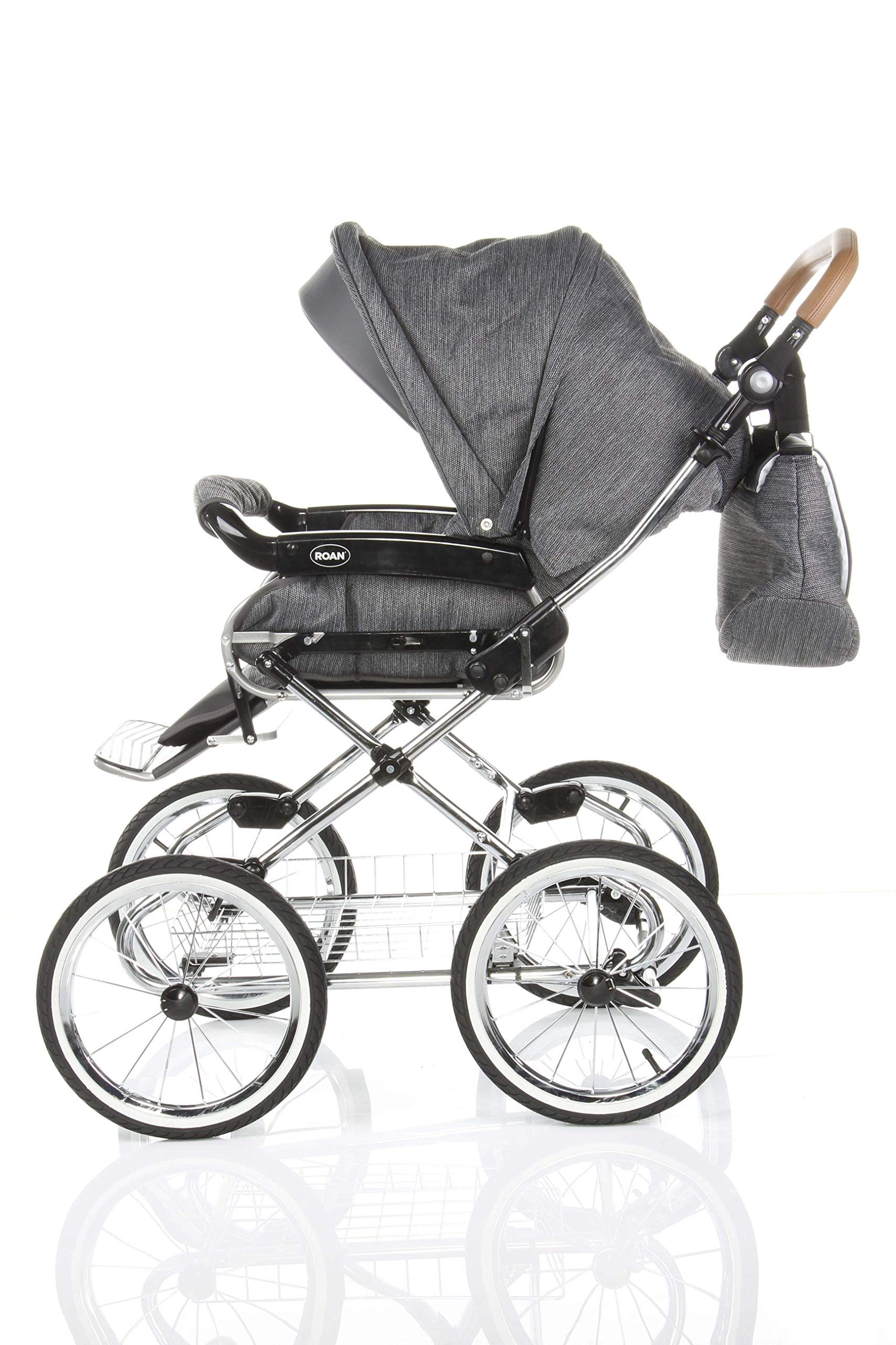 Children's Pram Buggy Stroller Combination Car seat Classic Retro Baby Carrier ROAN Emma (E-81 Dark Grey Melange-Grey Leather, 2IN1) JUNAMA Frame / wheels Sturdy and lightweight aluminum frame construction with folding function 1-click system for easy assembly and disassembly Practical carrying handle for easy storage of the folded frame Wheels for inflating (14 inch) removable wheels Brake system with central brake Height-adjustable push handle - 10-fold matching shopping basket Dimensions folded with wheels: 86 x 60 x 40 cm folded without wheels: 76 x 60 x 26 cm Total height of the stroller to hood top: 106 cm Height of the tub from the ground: 60 cm Wheelbase External dimensions: 80x 58 cm Variable height of the push handle: 77- 119 cm Weight of the frame incl. Wheels and carrying bag 15 kg Carrycot Length and width of carrycot outside: 88 x 42 cm Carrying bag length and width inside: 76 x 35 cm Sturdy plastic tub with comfortable mattress and side protection Ventilation slots on the plastic tub The baby car seat 0-13 kg Maxi-Cosi in black incl. Adapter 8