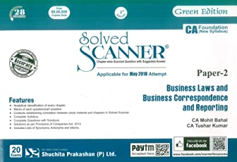 Shuchita Prakashan's Solved scanner on Business Laws and Business Correspondence and Reporting for CA Foundation May 2018 Exam [New Syllabus]