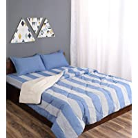 Saral Home Combo of Cotton Bedsheet with Pillow Covers & Quilt - Blue