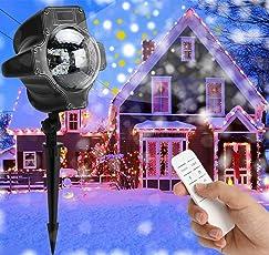 LED Projektionslampe Weihnachten Innen - Weihnachtsbeleuchtung Außen Weiß Schneefall-Lichteffekt mit Fernbedienung Timer, LED Projektor Lampe IP65 Wasserdicht Stimmungsbeleuchtung für Halloween Karneval Geburtstag Hauswand Garten Beleuchtung