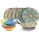 Villa d'Este Home Tivoli - Marrakech - Service de table, 18pièces en porcelaine/grès - multicolore - 27x 27x 5cm