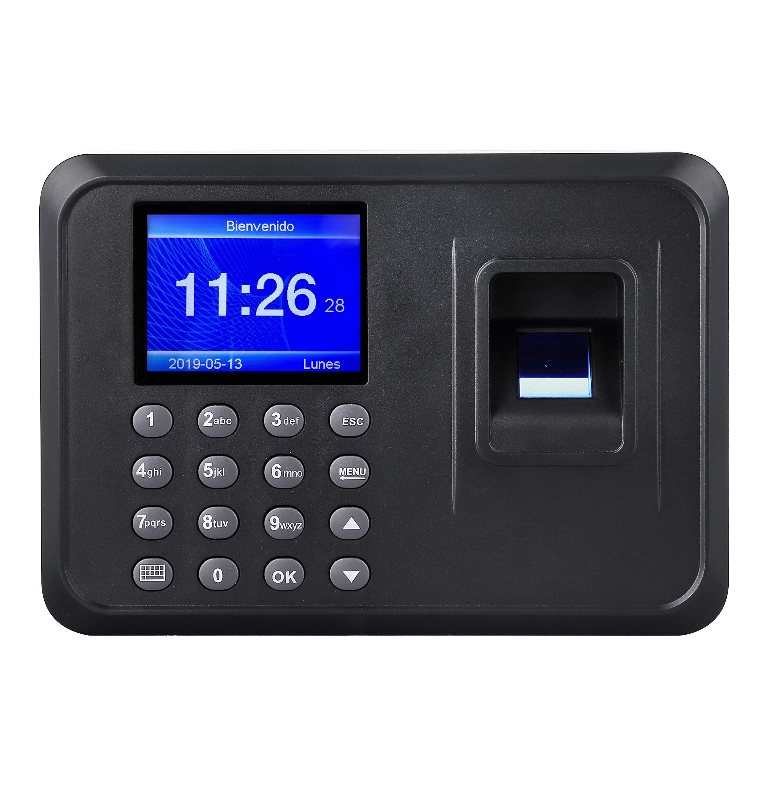 """Reloj biométrico de asistencia con huella dactilar y contraseña. Control de asistencia Registro de tiempo y acceso de los empleados, idioma español, pantalla LCD, conexión USB, DC 5V pantalla 2.4"""" TFT"""