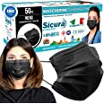 50 Mascherine CHIRURGICHE NERE per Adulti Certificate CE italia Tipo IIR BFE ≥ 98% Mascherina Chirurgica colorata NERA italia