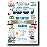 Personalised 70th Birthday Card   Any Name Inserted   Memories & Facts From Year of Birth 1951   Unique Cards For Men…