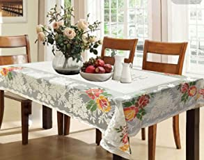 Kuber Industries Cotton Dining Table Cover For 6 Seater   Cream