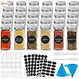 SPLAKS 30 Pcs Bocaux Epices Verre, 120 ML Pots d'épices carrés avec Étiquette d'épices,Couvercles Shaker,Bouchons métalliques