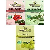 Forest Herbs 100% Organic Amla, Bhringraj, Hibiscus Powder For Hair Pack Of 3 Each 100Gms