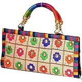 RV Art Women's Rajasthani Work Hand Purse/Clutch Bag, Multicolour