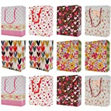 Asian Hobby Crafts Printed Paper Bags, Pack of 12pcs Party Favor/Gift Paper Bag for Birthday/Baby Shower/Anniversary Size: H-