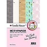 Familie Hauser Paper-Media - Papel de diseño (8 hojas, DIN A4, 300 g/m², para miniaturas)