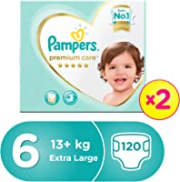 Pampers Premium Care Extra Large Diapers, Size 6, Dual Pack Mega Box - 15 + Kg, 120 Count