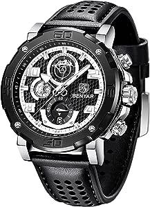 Montre Homme BENYAR Montre-Bracelet chronographe pour Homme avec Bracelet en Cuir Mouvement à Quartz avec Calendrier de Date 30M Étanche Meilleur Cadeau pour la Famille Ami Fashion Business Casual