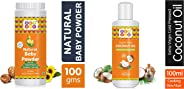 Bey Bee Natural Hypoallergenic, Parabens, Talc and SLS Free Dusting Powder for Babies, 100g and Bey Bee Extra Virgin Organic