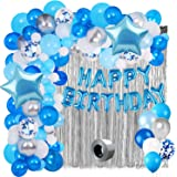 Party Propz Blue Star Theme Birthday Decoration Kit Combo 70Pcs Happy Birthday Banner Foil Metallic Balloon With Foil Curtain