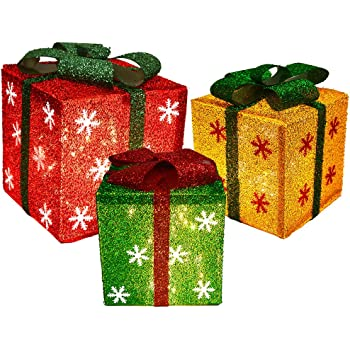 Set of 3 Sparkling Mix Color Gift Boxes With Bows Lighted Christmas Home Garden Yard Art Decorations