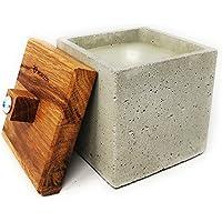 WOWOCON | 10x10x10cm | Betonfeuer | Kerzenfresser | Wachsfresser mit Dauerdocht | Tischfeuer mit Wachsresten zum…