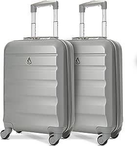 Aerolite ABS Bagage Cabine à Main Valise Rigide Léger 4 roulettes, Set de 2, Argent