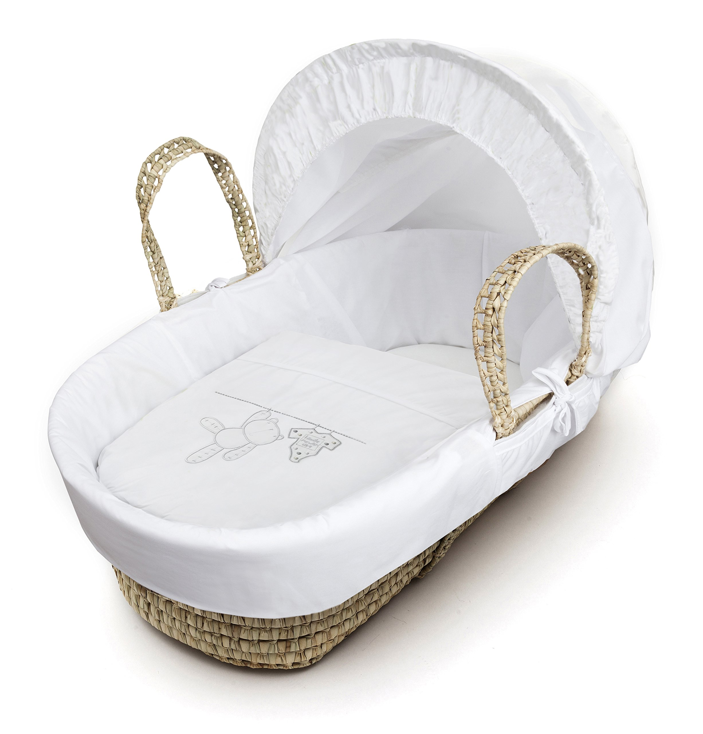 White Teddy Wash Day On Palm Moses Basket & Deluxe Dove Grey Rocking Stand Elegant Baby Suitable from newborn for up to 9kg, this Moses Basket uses Easy-care Poly Cotton with a soft padding surround Suitable from newborn to 9 months It also includes a comfortable mattress and an adjustable hood perfect to create a cosy sleeping space for your precious little one 2