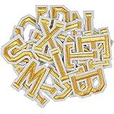 AvoDovA52PCS Lettres Thermocollantes, Patchs d'Applique Alphabet A-Z, Lettre a Coudre Or, Lettres Brodées à Coudre ou Repass