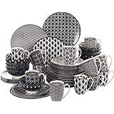 vancasso, série Haruka, Service de Table Porcelaine 48 pièces pour 12 Personnes, en Porcelaine, Assiette Plates, Assiette Cre