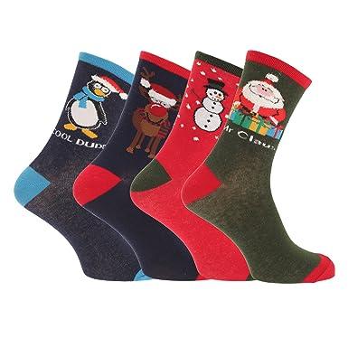 Mens Christmas Novelty Socks (Assorted Pack Of 3) (UK Shoe 7-11 ...