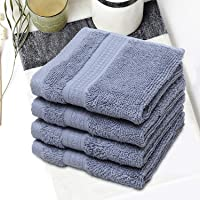 Spaces Organic Petrol Pack of 4 Cotton Face Towel