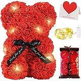 Zodight Oso de Rosas, Oso de Peluche Rojo con Caja Regalo + Cadena de Luz + Tarjetas felicitacion, Oso de Artificial Regalo p